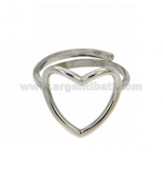PIERCED HEART RING RHODIUM SILVER TITLE 925 ‰