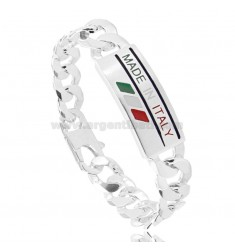 CURB BRACELET WITH PLATE MM 14 &quotMADE IN ITALY&quot IN AG TIT 925 CM 22