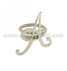 RING ADJUSTABLE LETTER &quotA&quot SILVER RHODIUM TIT 925 ‰