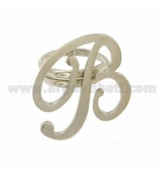 ADJUSTABLE RING LETTER &quotB&quot IN SILVER RHODIUM TIT 925 ‰