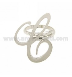 ANILLO AJUSTABLE CARTA DE PLATA &quotC&quot RODIO TIT 925 ‰