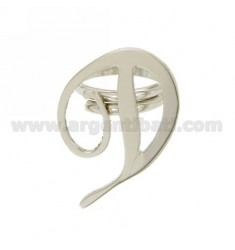 RING ADJUSTABLE LETTER &quotD&quot SILVER RHODIUM TIT 925 ‰