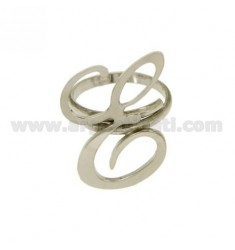 ANILLO AJUSTABLE CARTA &quotE&quot EN PLATA RODIO TIT 925 ‰