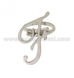 ADJUSTABLE RING LETTER &quotF&quot IN SILVER RHODIUM TIT 925 ‰