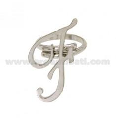Ring einstellbar Buchstaben &quotF&quot Silber Rhodium TIT 925 ‰