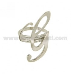 RING ADJUSTABLE LETTER &quotG&quot SILVER RHODIUM TIT 925 ‰