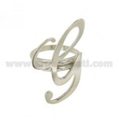 Ring einstellbar Buchstaben &quotG&quot Silber Rhodium TIT 925 ‰