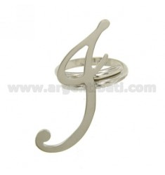 RING ADJUSTABLE LETTER &quotI&quot IN SILVER RHODIUM TIT 925 ‰