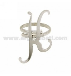 RING ADJUSTABLE LETTER &quotK&quot SILVER RHODIUM TIT 925 ‰