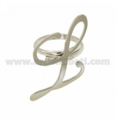 Ring einstellbar Buchstaben &quotL&quot In silber rhodium TIT 925 ‰