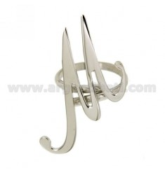 ADJUSTABLE RING LETTER &quotM&quot IN SILVER RHODIUM TIT 925 ‰