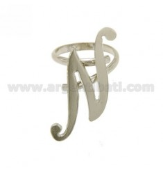 ADJUSTABLE RING LETTER &quotN&quot IN SILVER RHODIUM TIT 925 ‰