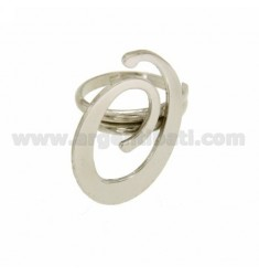 RING ADJUSTABLE LETTER &quotO&quot SILVER RHODIUM TIT 925 ‰