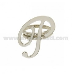 RING ADJUSTABLE LETTER &quotP&quot SILVER RHODIUM TIT 925 ‰