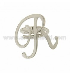 ANILLO AJUSTABLE CARTA &quotR&quot EN PLATA RODIO TIT 925 ‰