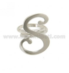 ANILLO AJUSTABLE CARTA &quotS&quot EN PLATA RODIO TIT 925 ‰
