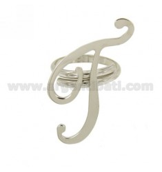 RING ADJUSTABLE LETTER &quotT&quot SILVER RHODIUM TIT 925 ‰