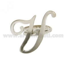 ANILLO AJUSTABLE CARTA &quotU&quot DE PLATA RODIO TIT 925 ‰