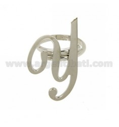 RING ADJUSTABLE LETTER &quotY&quot SILVER RHODIUM TIT 925 ‰