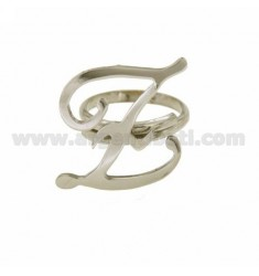 ADJUSTABLE RING LETTER &quotZ&quot IN SILVER RHODIUM TIT 925 ‰
