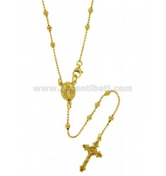 BALL CHAIN ROSARY NECKLACE WITH SMOOTH BALL 3 MM 50 MM SILVER TIT 925 ‰ GOLD PLATED