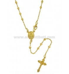 ROSARY NECKLACE WITH CABLE BALL faceted MM CM 3 50 925 ‰ TIT SILVER GOLD PLATED