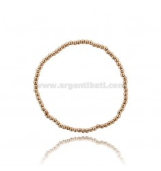 BRACELET WITH BALL SPRING 3 MM SILVER PLATED ROSE GOLD 925 ‰