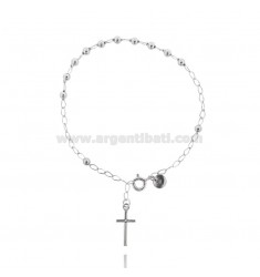 ROSARY BRACELET WITH BALL 3 CM 18 MM SMOOTH SILVER RHODIUM 925?