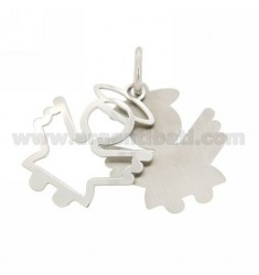ANGEL PENDANT DOUBLE PLATE IN RHODIUM AG TIT 925