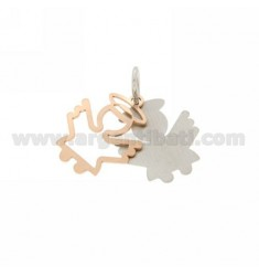 ANGEL PENDANT DOUBLE PLATE IN PINK AND GOLD RHODIUM PLATED AG TIT 925 ‰