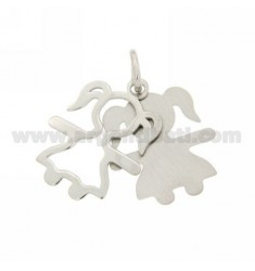GIRL NECKLACE RHODIUM DOUBLE PLATE IN AG TIT 925
