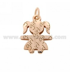 PENDANT GIRL GIRL IN YELLOW ROSE GOLD PLATED AG TIT 925
