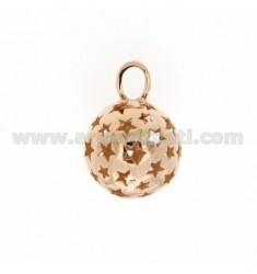 CALL ANGELS PENDANT 18 MM WITH STARS IN perforated AG PLATED ROSE GOLD TIT 925