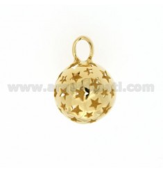 CALL ANGELS PENDANT 18 MM WITH STARS IN perforated AG GOLD PLATED TIT 925 ‰