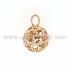 CALL ANGELS PENDANT 18 MM WITH ANGELS IN PERFORATED AG PLATED ROSE GOLD TIT 925