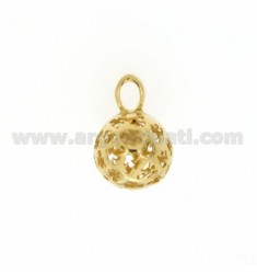 CALL ANGELS PENDANT 14 MM WITH ANGELS IN PERFORATED AG GOLD PLATED TIT 925