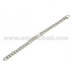 CURTAIN STEEL BRACELET WITH 10 MM PLATE AND ZIRCON