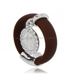 RING IN BROWN RUBBER WITH MIRACULOUS AG RHODIUM TIT 925 ‰ AND ZIRCONIA