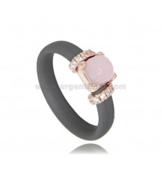 RING IN GRAY RUBBER WITH APPLICATION IN AG ROSE GOLD PLATED TIT 925 ‰, ZIRCONIA AND HYDROTHERMAL STONES ASSORTED COLORS