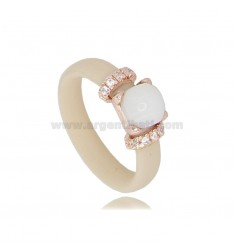 RUBBER RING IVORY WITH APPLICATION IN AG ROSE GOLD PLATED TIT 925 ‰, ZIRCONIA AND HYDROTHERMAL STONES, ASSORTED COLORS