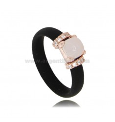 RING IN BLACK RUBBER WITH APPLICATION IN AG ROSE GOLD PLATED TIT 925 ‰, ZIRCONIA AND HYDROTHERMAL STONES ASSORTED COLORS