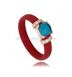RING IN RED RUBBER WITH APPLICATION IN AG ROSE GOLD PLATED TIT 925 ‰, ZIRCONIA AND HYDROTHERMAL STONES ASSORTED COLORS
