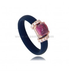 RING IN BLUE RUBBER WITH APPLICATION IN AG ROSE GOLD PLATED TIT 925 ‰, ZIRCONIA AND HYDROTHERMAL STONES ASSORTED COLORS