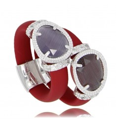 DOUBLE RING IN RED RUBBER WITH APPLICATION IN AG RHODIUM TIT 925 ‰ AND HYDROTHERMAL STONES OF VARIOUS COLORS