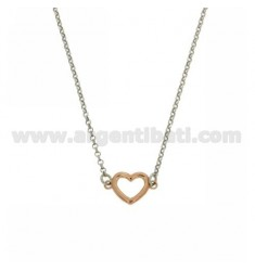 COLLIER CUORICINO IN ABOUT 10 MM AG RHODIUM PLATED AND ROSE GOLD TIT 925 ‰ 45 CM