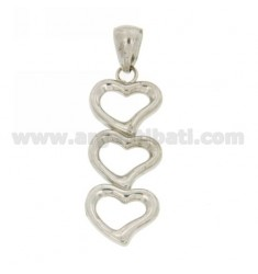 AG RHODIUM NECKLACE THREE HEARTS IN TIT 925