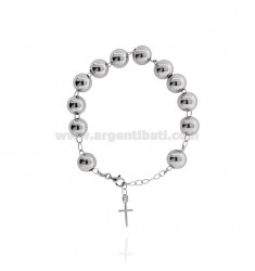 ROSARY BRACELET WITH SMOOTH BALL MM 10 CM 21 IN RHODIUM-PLATED SILVER 925 ‰