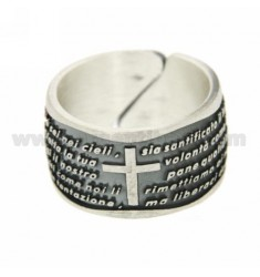 RING OUR FATHER REGOLBILE 12 MM SILVER BRUNITO TIT 925 ‰ SIZE 17