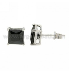 ZIRCON EARRINGS WITH BLACK SQUARE 7X7 MM IN RHODIUM AG TIT 925