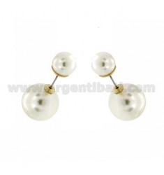 DOUBLE BALL EARRINGS PEARL WHITE COLOR 16 MM AND 10 IN METAL